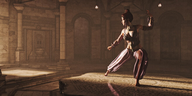 Woman dancing in exotic clothing - BLEF00337