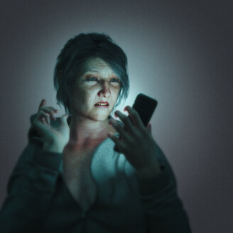 Frustrated woman texting on cell phone - BLEF00367