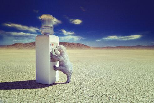 Polar bear climbing water cooler in desert - BLEF00391