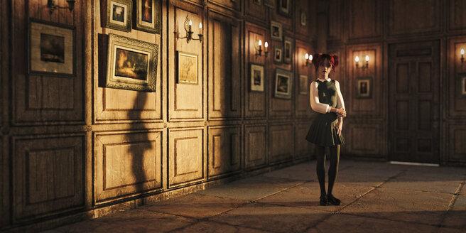Girl standing in ornate room - BLEF00598