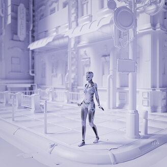 Robot woman walking in futuristic white city - BLEF00838