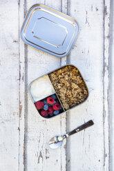 Box with granola, greek yogurt, blueberries and raspberries - LVF07988