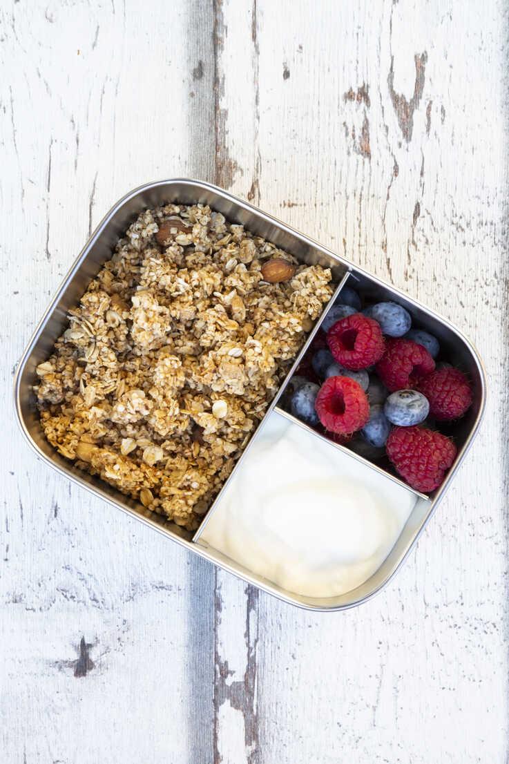 Box with granola, greek yogurt, blueberries and raspberries - LVF07991 - Larissa Veronesi/Westend61