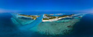 Maledives, South Male Atoll, lagoon of Olhuveli and Bodufinolhu, aerial view - AMF06969