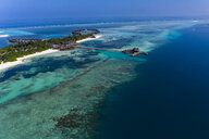 Maledives, South Male Atoll, lagoon of Olhuveli with sandy beach and water bungalow, aerial view - AMF06972
