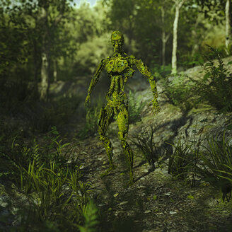 Green loss on obsolete robot in woods - BLEF01493