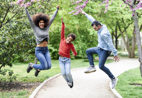 Happy fmily jumping for joy in a park - JSMF01048