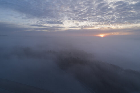 Aerial view of sunrise with foggy landscape. Franconia, Bavaria, Germany. - RUEF02183