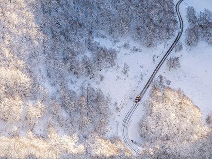 Spain, Asturia, Picos de Europa, Mirador De Piedrashistas, snow plow truck clearing road in winter - LAF02287