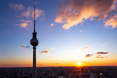 Germany, Berlin, silhouette of television tower at sunset - PUF01410