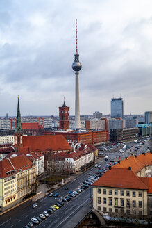 Germany, Berlin, view to television tower, Red City Hall and St. Nicholas church - PUF01413