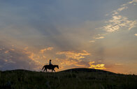 Silhouette of Caucasian woman riding horse at sunset - BLEF02148