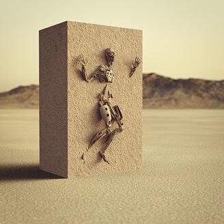 Robot trapped in dirt cube in desert - BLEF02455