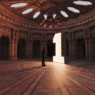 Man admiring illuminated number 1 in ornate atrium - BLEF02461