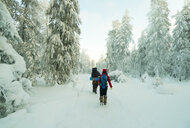 Caucasian couple hiking in snowy forest - BLEF02676