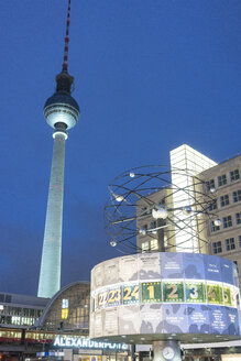 Germany, Berlin, Alexanderplatz, illuminated television tower and world clock - TAM01400
