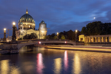Germany, Berlin, view to lighted Berlin Cathedral at night - TAMF01418