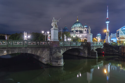 Germany, Berlin, view to lighted Berlin Cathedral and television tower - TAMF01424