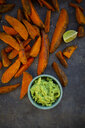 Sweet potato wedges with avocado dip and fleur de sel - LVF08015