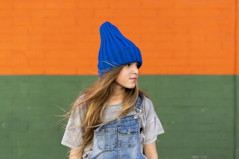 Portrait of young girl with blue woolly hat - ERRF01252