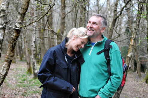 Couple in forest, Tunbridge Wells, Kent, United Kingdom - CUF51042