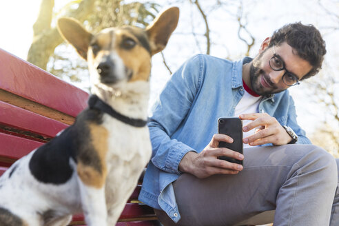 Portrait of young man sitting on park bench taking photo of his dog  with smartphone - WPEF01510