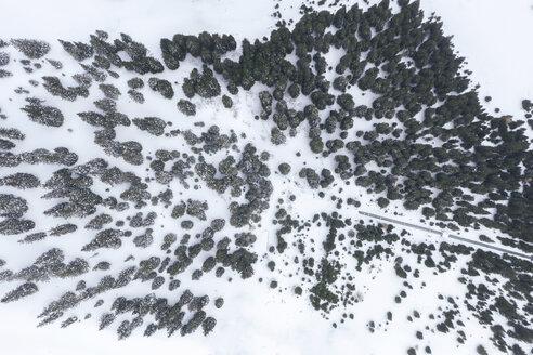 Österreich, Tirol, Galtür, Blick auf die verschneiten Berge und Wälder im Winter mit Neuschnee. Luftaufnahme, Drohnenaufahme - MMAF00940