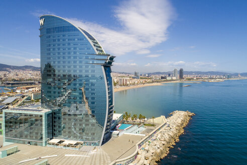 W Hotel and the harbor of Barcelona from above - TAM01433