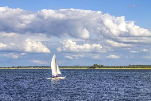 Germany, Mecklenburg Lake District, Waren, sailing boat on lake - PUF01440