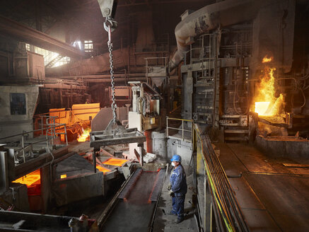 Industry, Smeltery, worker using indoor crane - CVF01225