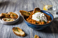 Burrata on romescu sauce with roasted bread - SBDF03944