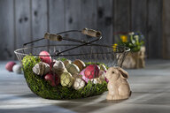 Easter eggs in wire basket with Easter bunny in the foreground - LBF02564