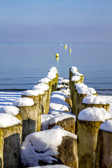 Switzerland, Arbon, Lake Constance, wooden stakes at the lakeshore in winter - PUF01453