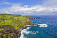 Aerial view over Pacific Ocean and West Maui Mountains, Maui, Hawaii, USA - FOF10734