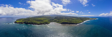 Aerial view over Pacific Ocean and West Maui Mountains, Honokohau Bay, Maui, Hawaii, USA - FOF10737