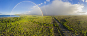 Aerial view over West Maui Mountains with a rainbow, Maui Veterans Highway, Maui, Hawaii, USA - FOF10743