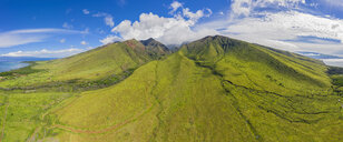 Aerial view over West Maui Mountains and Pacific Ocean with Puu Kukui, Maui, Hawaii, USA - FOF10746