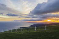 USA, Hawaii, Maui, south coast, wind turbines at sunset - FOF10755