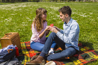 Young woman gifting her boyfriend with a present in a park - MGIF00467
