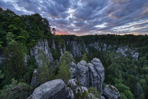 Germany, Saxony, Elbe Sandstone Mountains, Bastei area, Raaber Kessel at sunset - RUEF02195