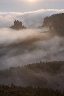 View from Gleitmannshorn to fog in the valley and sandstone cliffs (Hinteres Raubschloß) at sunrise. Gleitmannshorn, Hinteres Raubschloß, Elbe Sandstone Mountains, Saxon Switzerland National Park, Saxon Switzerland, Saxony, Germay, Europe. - RUEF02219