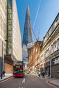UK, London, Borough Market, street with The Shard in background - TAM01443