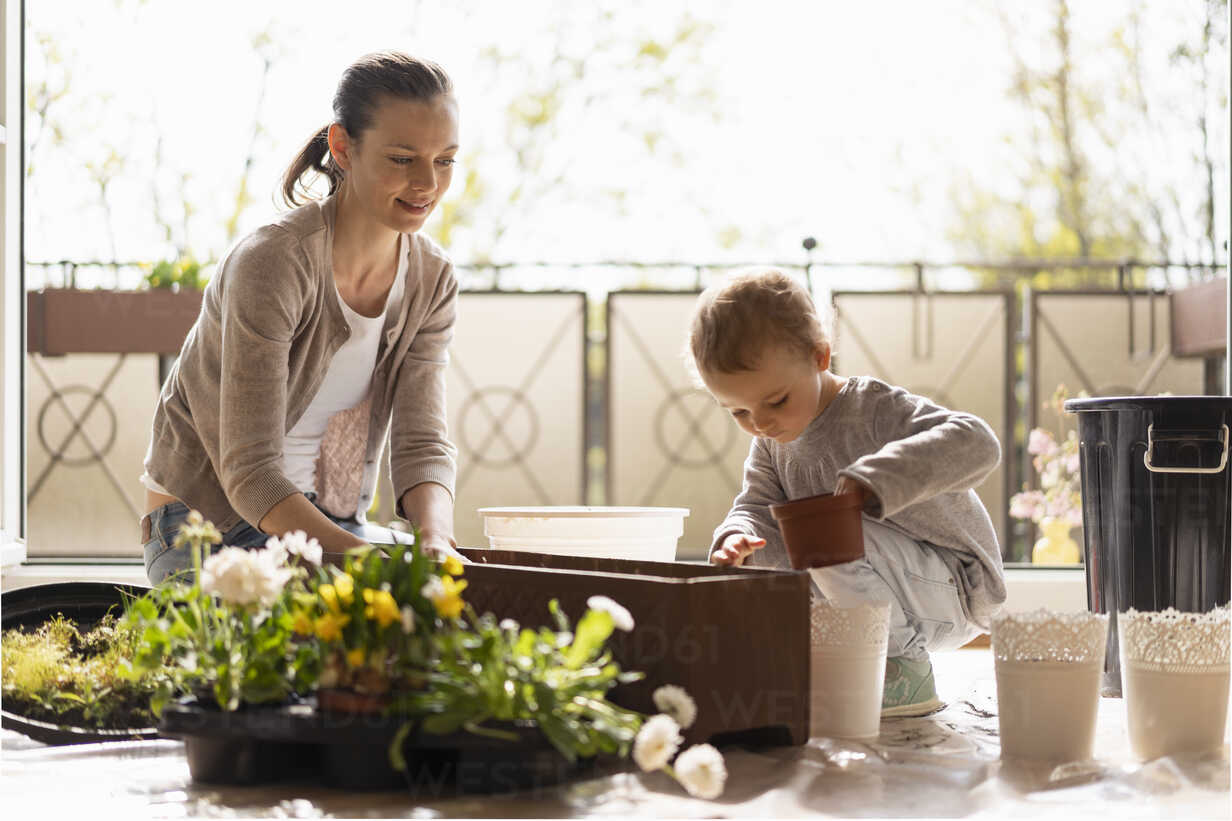 Mother and daughter planting flowers together on balcony - DIGF07035 - Daniel Ingold/Westend61