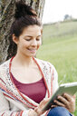 Smiling young woman sitting at a tree in the countryside using tablet - HMEF00373