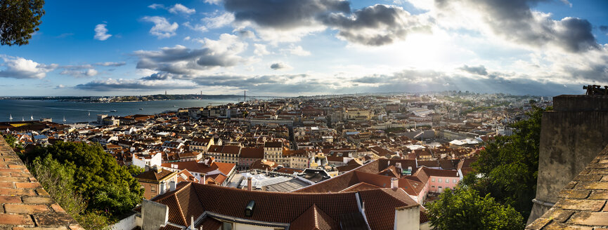 Panoramic view over the city with Ponte 25 de Abril Tejo River from Miradouro da Nossa Senhora do Monte, Lisbon, Portugal - AMF07014