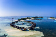 Aerial view over Olhuveli with water bungalow, South Male Atoll, Maldives - AMF07029