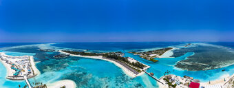 Aerial view over Olhuveli and Bodufinolhu with Fun Island Resort, South Male Atoll, Maldives - AMF07032