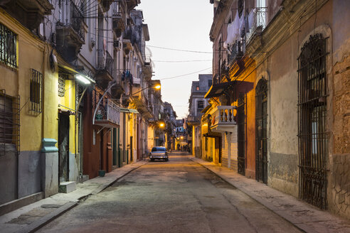 View of empty street at Centro Viejo by twilight, Havana, Cuba - HSIF00627