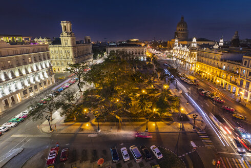 View to Parque central at night from above, Havana, Cuba - HSIF00636