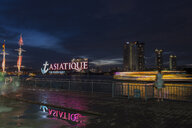 Skyline at dusk with Chao Phraya, at the Shopping Mall, Asiatique the Riverfront, Bangkok, Thailand - LB02580